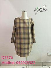 Đầm dạ kẻ suông D7576
