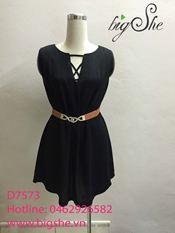 Đầm suông chất đũi đen