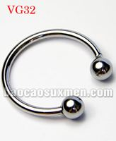 Vòng cock ring đeo dương vật 2 bi inox