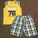 Bộ bé trai đại cồ số 76 Size 14-22 ( 40kg-55/60kg) Dây 5 bộ theo màu Áo cotton thun 4 chiều kết hợp quần thô kẻ karo Size đại cồ dành cho bé bự bé lớn nên rất chuộng quần thô nhé.