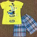 Bộ. Goal bé trai Size đại 8-12 dây 5 bộ theo màu Áo coton thun 4 chiều kết hợp quần thô karo mềm.