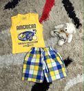 Bộ american quần thô karo mềm. Size 1-7 dây 7 bộ theo màu. Áo cotton 100% thun 4 chiều kết hợp với quần thô kẻ karo mềm.