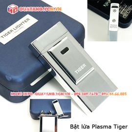 Bật lửa điện Plasma màu bạc hộp da sang trọng Tiger Lighter
