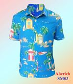 Áo sơ mi nam đi biển Aberich SM03 họa tiết cây dừa, bãi biển