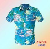 Áo cộc tay họa tiết cây dừa Aberich SM02 đi biển cho nam