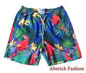 Quần đùi nam hawaii Aberich QD09 họa tiết hoa lá, chim vẹt