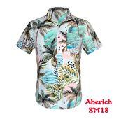 Áo sơ mi nam ngắn tay họa tiết cây dừa cực đẹp Aberich SM18