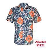 Áo sơ mi nam cộc tay hoa lá Aberich SM21