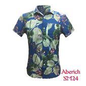 Áo sơ mi nam ngắn tay Aberich SM24 họa tiết hoa hồng