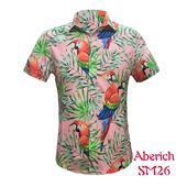 Áo sơ mi ngắn tay họa tiết chim cò, hoa lá Aberich SM26