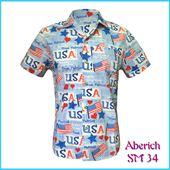 Áo cộc tay nam in hình cờ mỹ Aberich SM34