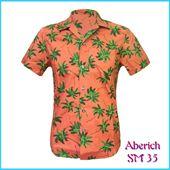 Áo sơ mi nam ngắn tay màu cam họa tiết cây dừa Aberich SM35