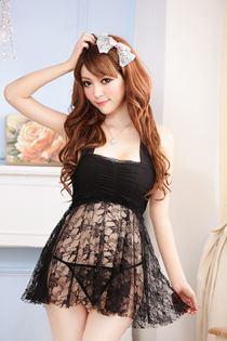 Váy Ngủ Cột Dây Đen 0456