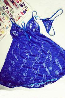 Đầm Ngủ Voan Ren Mềm Mịn Xanh 0621