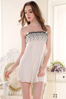 Váy Ngủ Phi Lụa Cao Cấp Thêu Hoa 0628 Trắng