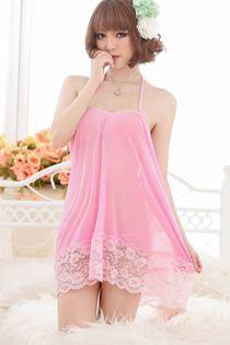 Váy Ngủ Cột Dây Dáng Áo Yếm Hồng 0574