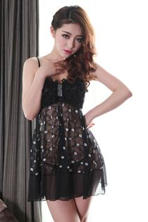 Váy Ngủ Điểm Hoa Cao Cấp 0467 Đen