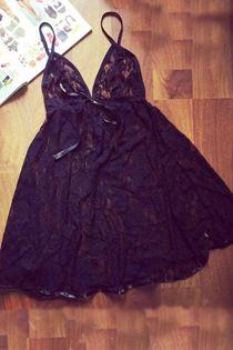 Đầm Ngủ Voan Ren Mềm Mịn Đen 0621