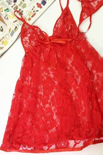 Đầm Ngủ Voan Ren Mềm Mịn 0621 Đỏ