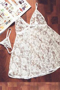 Đầm Ngủ Voan Ren Mềm Mịn 0621 Trắng