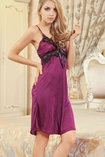 Váy Ngủ Phi Thun Dáng Dài Màu Tím 0622