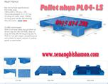 Pallet nhựa PL04LS kích thước 1000 x 600 x 100mm mặt bông 6 chân.