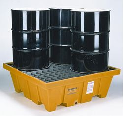 PALLET CHỐNG DẦU TRÀN- SPILL PLASTIC PALLET , PALLET KÊ THÙNG DẦU - plastic pallet containing oil drums