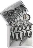 Zippo Fire Breathing Dragon Emblem Brushed Chrome