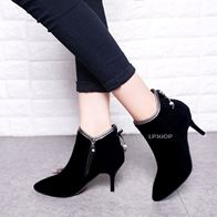 SUEDE HIGH HEELS ANKLE BOOTS BLACK LP0008