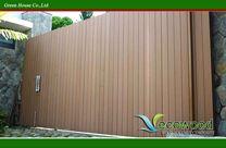Cổng biệt thự - ốp gỗ hai mặt