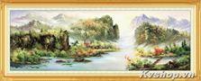 Tranh gắn đá Shanshi -S8320-phong cảnh sơn thủy hữu tình