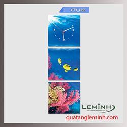 Bộ tranh ghép đồng hồ 3 tấm vuông 30x30cm 004