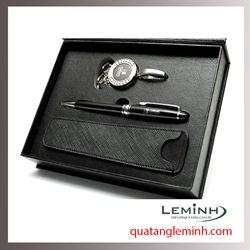 Bộ quà tặng - Giftset 3 sản phẩm móc khóa + bút ký + bao đựng bút ký