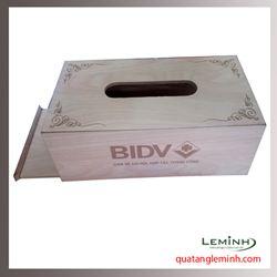 Hộp đựng khăn giấy gỗ - BIDV