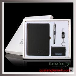 Bộ Giftset 4 sản phẩm : Sổ bìa da, USB, Bút ký, Hộp đựng namecard