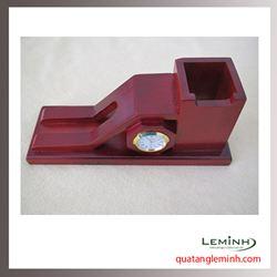 Đồng hồ gỗ để bàn khắc logo - 008