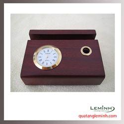 Đồng hồ gỗ để bàn khắc logo - 007