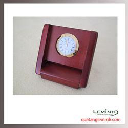 Đồng hồ gỗ để bàn khắc logo - 010