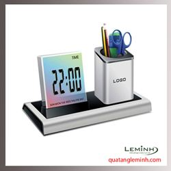Đồng hồ để bàn đèn LED kết hợp ống cắm bút - 002