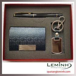 Bộ quà tặng bút ký, hộp đựng namecard, móc khóa 002 - Hàng sẵn