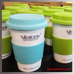 Cốc sứ Hàn Quốc Eco Cup - in logo Vietbay