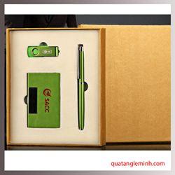 Bộ quà tặng cao cấp Giftset 3 sản phẩm Bút ký + USB + Hộp namecard
