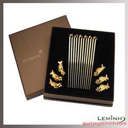 Bộ 6 đôi kèm gác đũa chiếc lá vàng mạ vàng 24k