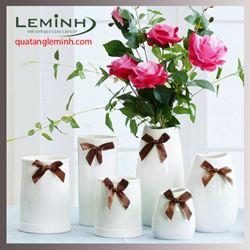 Bình hoa sứ trắng để bàn - 001