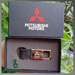 Móc Khóa Kim Loại Phối Da Cao Cấp - Kh Mitsubishi Motors