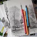 Sổ giấy vẽ phong cảnh châu âu vẽ chì Lenwa S0442 350g.