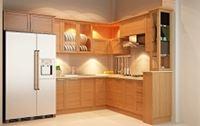 Tủ bếp gỗ sồi Nga mẫu 10