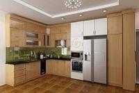 Tủ bếp gỗ sồi Nga mẫu  09