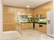 Tủ bếp gỗ sồi Nga mẫu  08