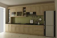 Tủ bếp gỗ sồi Nga mẫu  06